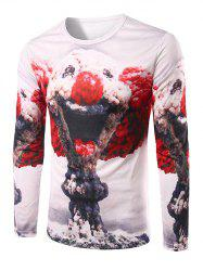 Slim Fit Round Collar Mushroom Cloud Printing T-Shirt For Men