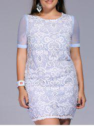Sweet Plus Size Embroidered Lace Patchwork Women's Dress -