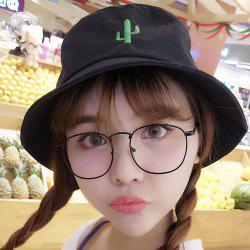 Simple Desert Cactus Embroidery Sunscreen Bucket Hat For Women
