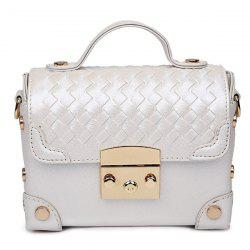 Sweet Hasp and Rivets Design Tote Bag For Women - WHITE
