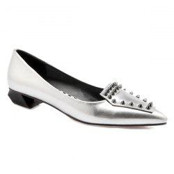 Stylish Rivets and Pointed Toe Design Flat Shoes For Women - SILVER