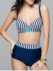 Trendy Striped Anchor Decorated Plus Size Bikini Set For Women -