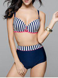 Trendy Striped Anchor Decorated Plus Size Bikini Set For Women