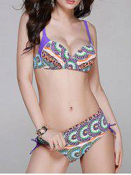 Chic Flower Print Tie Back Bikini Set For Women -