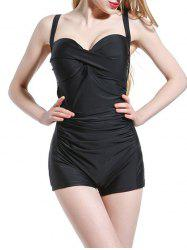 Elegant Pure Color Push Up One-Piece Swimwear For Women - BLACK 2XL