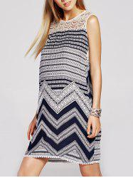 Refreshing Lace Spliced Geometric Print Sleeveless Dress For Women