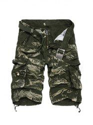 Zipper Fly Camouflage Cotton Blends Multi-Pockets Straight Leg Cargo Shorts For Men