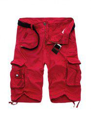 Zipper Fly Cotton Blends Multi-Pockets Straight Leg Cargo Shorts For Men - RED
