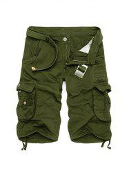 Zipper Fly Cotton Blends Multi-Pockets Straight Leg Cargo Shorts For Men - ARMY GREEN