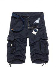 Zipper Fly Cotton Blends Multi-Pockets Straight Leg Cargo Shorts For Men - DEEP BLUE