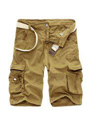 Zipper Fly Cotton Blends Multi-Pockets Straight Leg Cargo Shorts For Men