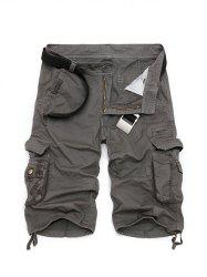 Zipper Fly Cotton Blends Multi-Pockets Straight Leg Cargo Shorts For Men - DEEP GRAY
