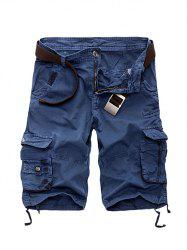 Zipper Fly Cotton Blends Multi-Pockets Straight Leg Cargo Shorts For Men - SAPPHIRE BLUE 29