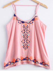 Scoop Neck Ethnic Style Embroidery Tank Top For Women -