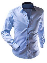 Slimming Solid Color Turn-Down Collar Long Sleeve Shirt For Men - BLUE 2XL