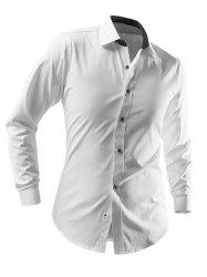 Slimming Solid Color Turn-Down Collar Long Sleeve Shirt For Men