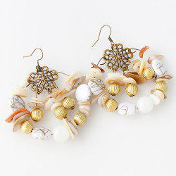 Pair of Graceful Faux Gem Floral Earrings For Women