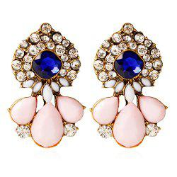 Pair of Vintage Rhinestone Water Drop Embellished Earrings For Women - PINK