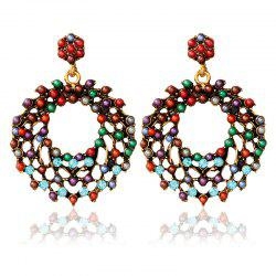 Vintage Rhinestone Beads Round Earrings -