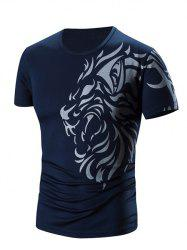 Round Neck Printed Short Sleeve T-Shirt For Men - CADETBLUE