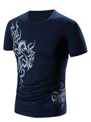 Round Neck Print Short Sleeve T-Shirt For Men - CADETBLUE 2XL