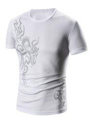 Round Neck Print Short Sleeve T-Shirt For Men -