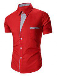 Turn Down Collar Stripes Printed Short Sleeve Shirt For Men - RED