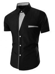 Turn Down Collar Stripes Printed Short Sleeve Shirt For Men -