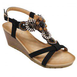 T-Strap Beaded Wedge Sandals - BLACK