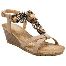 Beaded T-Strap Bohemian Style Wedge Sandals - APRICOT