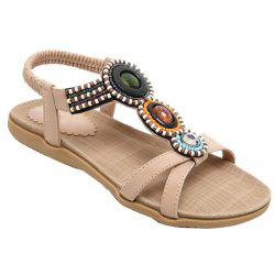 Vintage Beaded T-Strap Flat Sandals