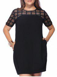 Pockets Design Bandage Mesh Dress