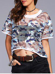 Fashionable Short Sleeves Scoop Neck Lace Camo Short T-Shirt For Women