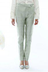 Ruched Waist Striped Pants -
