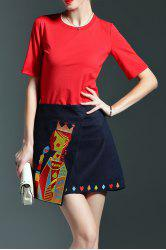 Embroidered Pocker Queen Skirt and T-Shirt Suit -