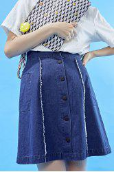 Single-Breasted Denim Skirt -