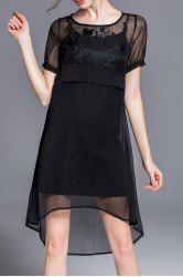 Solid Color Embroidered High Low Dress -