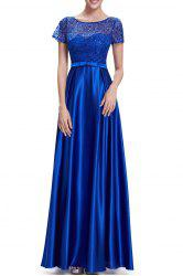 Sequined Lace Splicing Maxi Prom Dress -