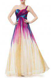 One-Shoulder Colorful Maxi Evening Dress -