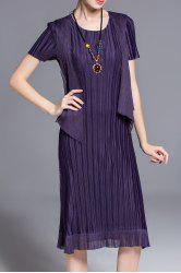 Solid Color Pleated Faux Twinset Dress -