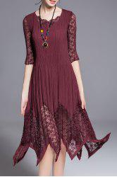 Three Quarter Sleeve Lace Inset Hankerchief Dress -