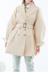 Double-Breasted Solid Color Coat -