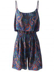 Spaghetti Strap Flounce Floral Paisley Romper - COLORFUL GEOMETRIC