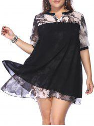 Chic Plus Size Printed Spliced ​​femmes s 'Mini-robe -