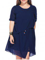 Chic Plus Size Scoop Neck Asymmetric Women's Dress