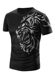Round Neck Printed Short Sleeve T-Shirt For Men - BLACK