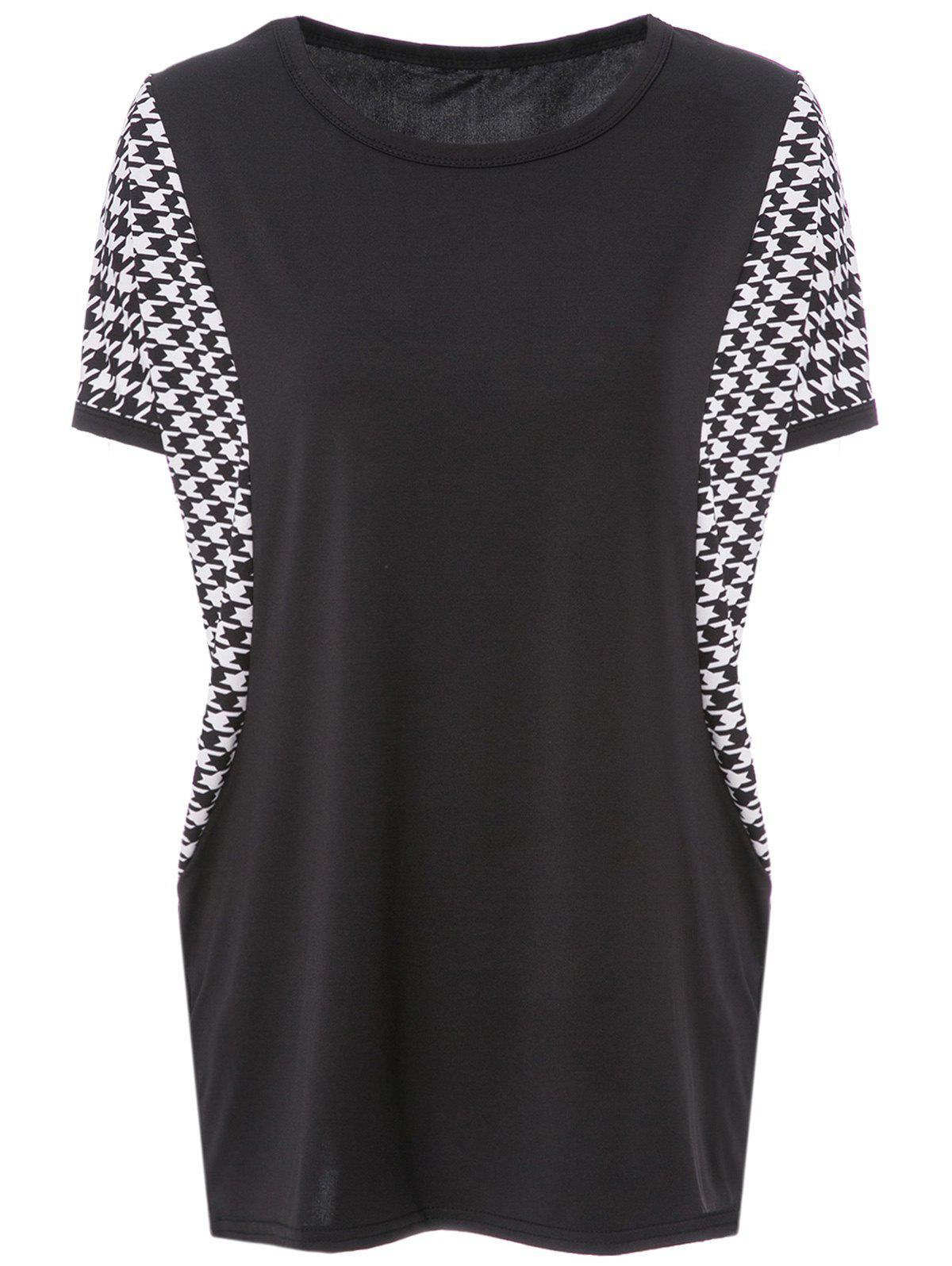 Shop Stylish Scoop Neck Dolman Sleeve Houndstooth T-Shirt For Women