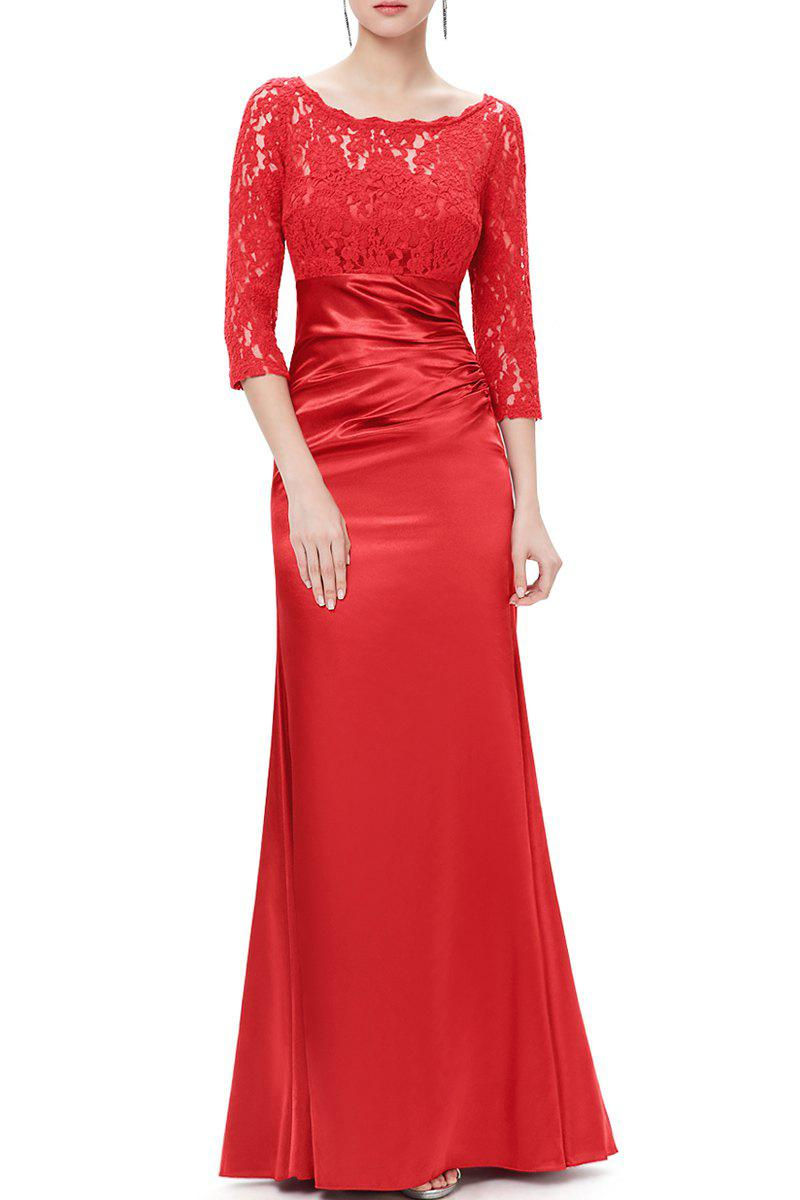 Sale Lace Splicing Maxi Evening Gown Prom Dress