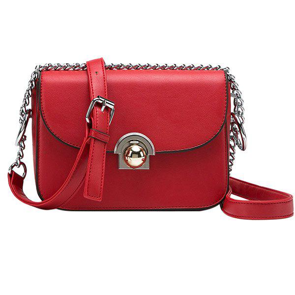 Outfit Simple Hasp and PU Leather Design Crossbody Bag For Women
