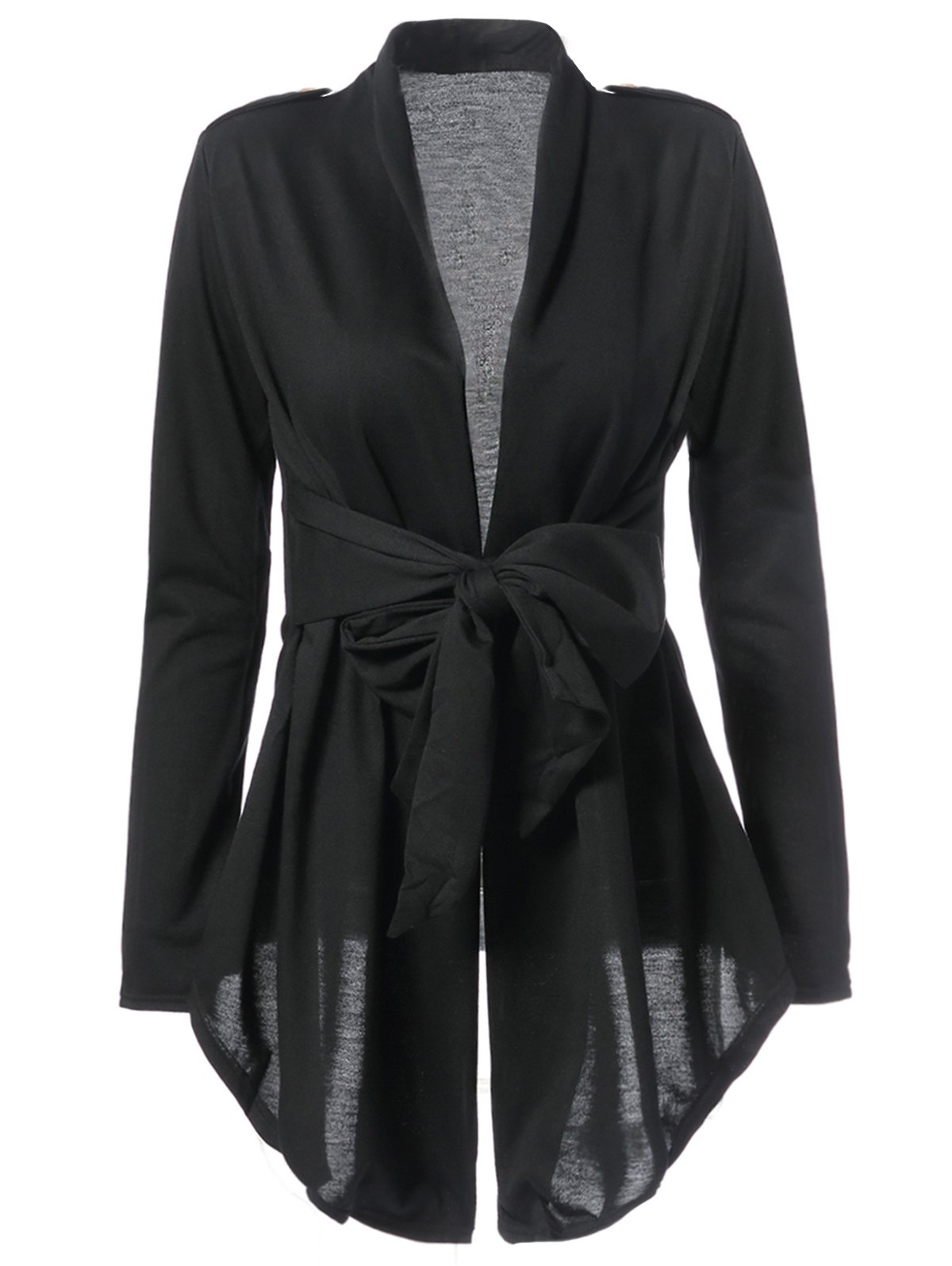 Hot Stylish Turn-Down Collar Long Sleeve Solid Color Asymmetrical Women's Coat
